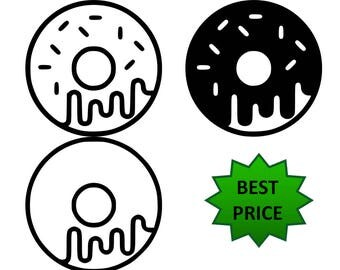 Donut Doughnut SVG, Eps, Dxf, Pdf, Png, Donut Cut file Donut cutting file, Donut, Dxf Silhouette Cricut INSTANT DOWNLOAD,
