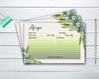 Recipe Card Bridal Shower Floral Printable Games Floral Greenery Eucaliptus Instant Download - BG020
