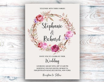Wedding Invitation Suite Printable Floral Digital Wedding Vintage Roses Watercolor Invitation Bohemian Wedding Invite WS-017