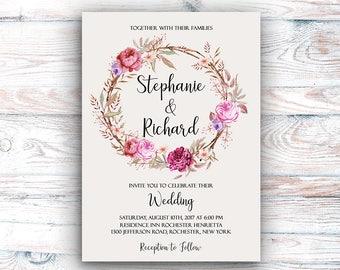 Wedding Invitation Suite Printable Floral Digital Wedding Vintage Roses Watercolor Invitation Bohemian Wedding Invite WS-017