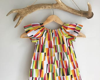 Baby girls summer dress / toddler summer dress / peasant style dress / geometric print dress