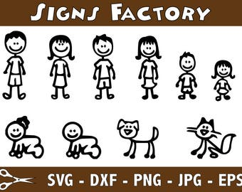 Stick Family SVG Bundle, Stick Family clipart, Family cut files, svg files for silhouette, files for cricut, svg, dxf, eps, cuttable design