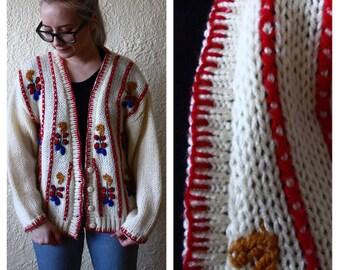 1980s cardigan // handkit vintage oversized sweater