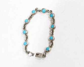 Taxco sterling sleeping beauty turquoise chain link bracelet