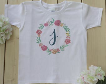 Flower Wreath Shirt, Christmas Shirt, Floral Shirt, Initial Shirt, Girls Initial Shirt, Girls Name Shirt, Baby Name Onesies