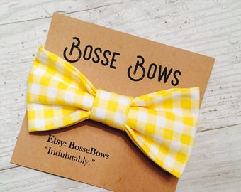 Toddler bow tie, Yellow Bow Tie, Kid's Easter Bow tie, Easter baby bow, Gingham bow tie, Easter bow tie, Baby bow tie, Kids bow tie