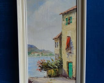 Mediterranean painting of building at water, oil on canvas, ENSO signed