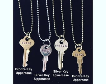 Custom Hand Stamped Key Necklaces/Key Necklaces/Personalized Key Necklace/Ornate Vintage Key/Best Friend Gift/Custom Engraved Word Key