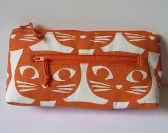 Orange cats twin zip purse