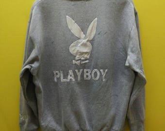 Vintage PLAYBOY BIG LOGO White Embroidery Sweatshirt Rare