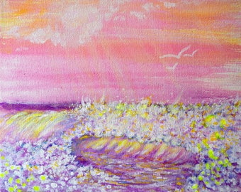 Pink Waves Fine Art PRINT of Original Painting