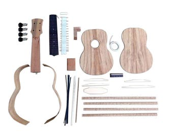Solo Pro Ukulele DIY Kit, Solid Koa Top, Back and Sides