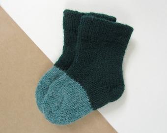 Baby Socks 100% lambswool Green