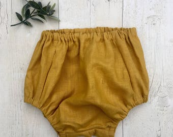 Mustard Linen baby bloomers /nappy cover / diaper cover / traditional kids clothes