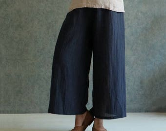 Linen trousers Linen pants Baggy pants Black linen dress