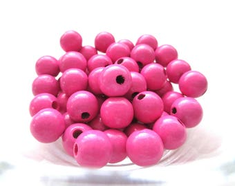 50 wooden pacifier clip 10 mm - dark pink beads