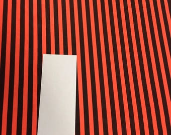 Nylon spandex stretch neon orange and black stripe fabric sold by the yard free shipping