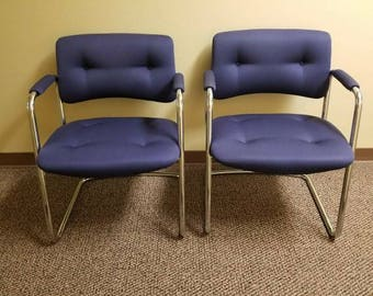 PRESIDENT'S DAY SALE  Pair 1987 Steelcase chrome cantilever chairs in navy blue. #421481