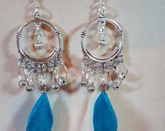 Blue feather Gypsy earrings
