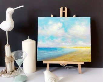 """Original oil painting oil on canvas sea painting seascape 10x12"""" ocean painting  seashore wall home decor ready to hang unframed"""