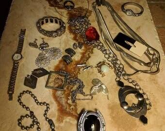 Lot set 80s jewelry, belt, bolo tie