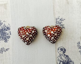1980's Heart, Metal And Rhinestone Love Heart Clip On Earrings