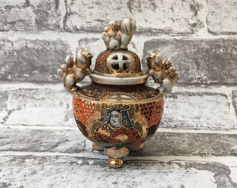 Japanese Incent Burner Porcelain with Foo Dog Handles, Satsuma Antique Japanese Porcelain