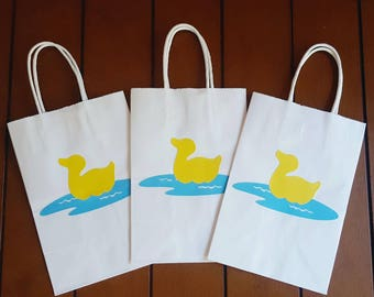 Duck Favor Bags, Rubber Duck Gift Bags, Set of 12