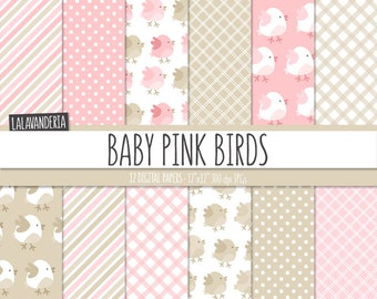 Baby Girl Digital Paper Pack. Patterns with Cute Pink Birds Backgrounds. Baby Pink Digital Scrapbook - Its a boy