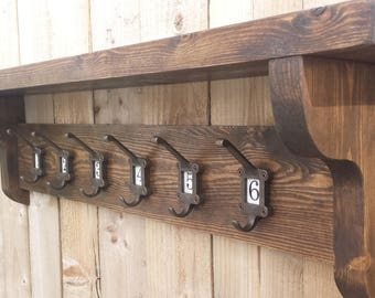 Vintage Style Coat Hook Rack With Shelf Ceramic Inserts