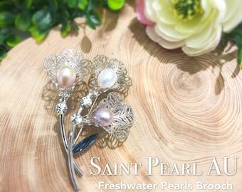 8.5-9mm Freshwater Pearls Brooch