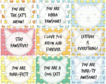 Cat School Lunch Box Notes - Instant Download