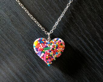 Sprinkles resin heart charm necklace