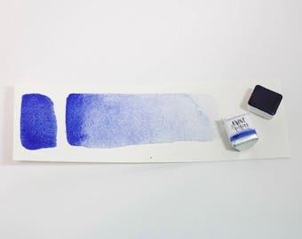 Handmade Watercolor Paint Half Pan Ultramarine Blue Vibrant Warm Blue Artisinal Watercolor