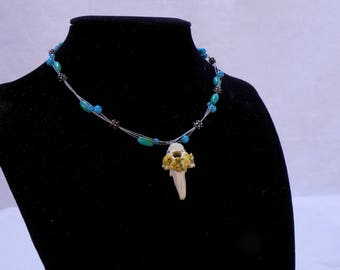 Bone necklace on silver chain