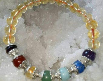 Citrine Natural Stone  With Seven Chakra Stone 8 MM Beads Healing Bracelet 8 MM