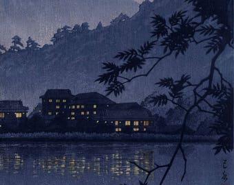 "Japanese Art Print ""Yumoto Hotsprings in Nikko"" by Kawase Hasui, woodblock print reproduction, night, lake, reflection, mountain, mist"