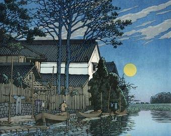 "Japanese Art Print ""Evening at Itako"" by Kawase Hasui, woodblock print reproduction, cultural art, asian art, clouds, sunset, river, reeds"