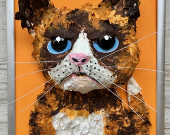 """Series """"Framed"""" the cat, paper mache and acrylic."""