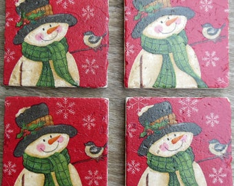 Coasters Christmas Snowman Snowflakes Birds Hats Stone Cup Holders Bar Drinks Winter Christmas Gifts Red Green Protect Furniture Snow Man