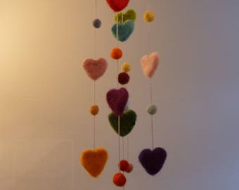 Hanging mobile, Hearts and balls