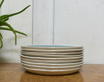 plates, 8 inch, coupe, blue, white, blue and white