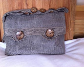 Linen bag, a bag of linen and leather, linen bag