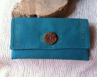 Wallet with Flaich, purse with linen, bio wallet