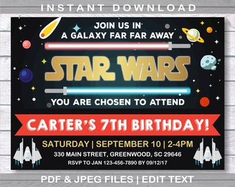 Star Wars Invitation,Star Wars Birthday, Instant Download, Star Wars Party, Star Wars Birthday Invitation, Star Wars, Star Wars Invite