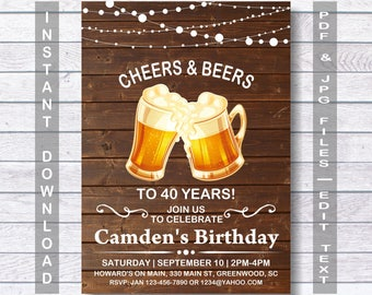 Beer birthday invitation, Cheers and Beers birthday invitation,  Instant Download, rustic Beers Birthday Invitation,  Cheers and Beers