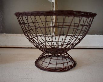 Woven Wire Bowl, Wire Basket, Vintage Wire Basket, Small Bowl, Farmhouse Decor, Rustic Decor