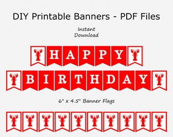 Happy Birthday Banner - Red & White - Crawfish - PRINTABLE - INSTANT DOWNLOAD