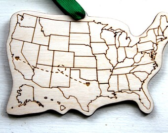 Map Ornament Etsy - Cities in the us map