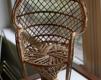 Vintage Rattan Peacock Chair Plant Stand